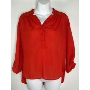 Milly of New York Red Hi Low 3/4 Sleeve Polyester
